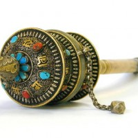 Antique Tibetan Bone Prayer Wheel