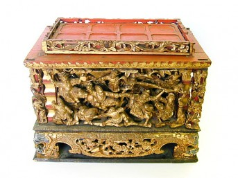 Antique carved wooden offering box