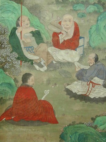 Antique painting of Five Buddhist Lohan
