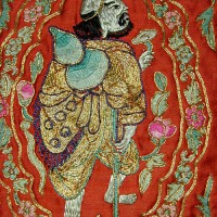 Antique embroidered panel with Immortals