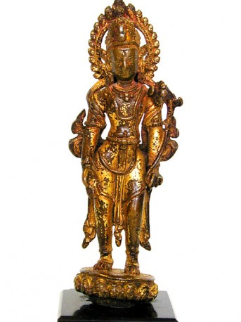 Gilded bronze figure of Padmapani. Standing in samapada