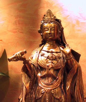 Gilt-bronze fingure of QuanYin standing on a lotus flower