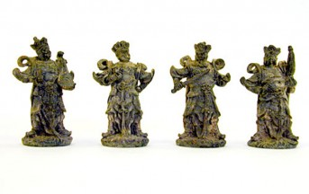 A set of brass Buddhist statues, the Four Guardians.